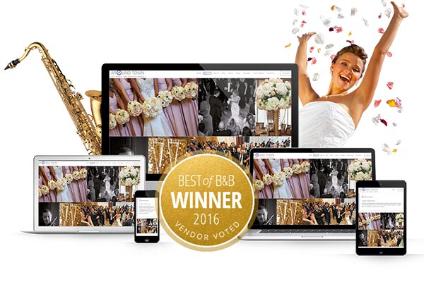 Mock-up illustrating Responsive page design for a wedding band in New York
